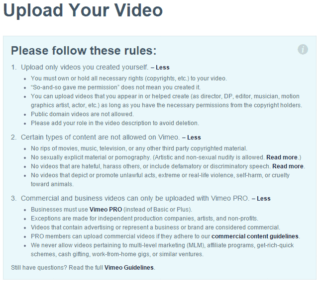 Vimeo Upload Copyright Warning