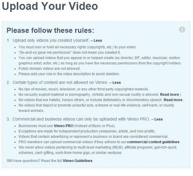 Vimeo Upload Copyright Warning